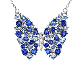 Lab Blue Spinel and Blue And White Cubic Zirconia Rhodium Over Silver Butterfly Necklace 3.77ctw