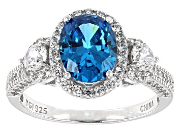 Picture of Blue and White Cubic Zirconia Rhodium Over Sterling Silver Ring 4.95ctw