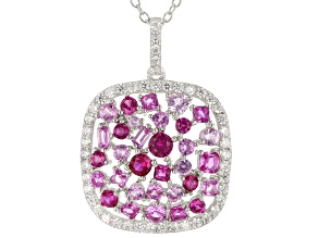 Red, Pink, And White Cubic Zirconia Rhodium Over Silver Cluster Pendant With Chain 8.25ctw