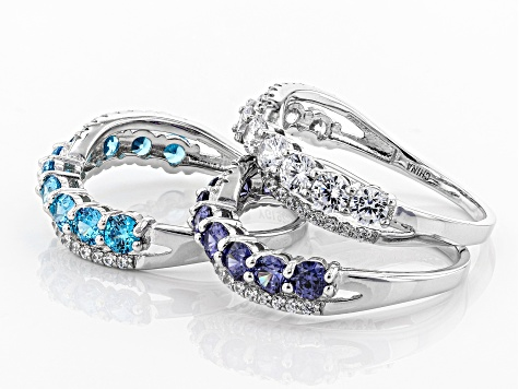 Blue and White Cubic Zirconia Rhodium Over Sterling Silver Rings Set of 3 6.00ctw