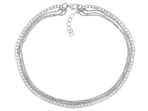 White Cubic Zirconia Rhodium Over Sterling Silver Anklet 1.86ctw