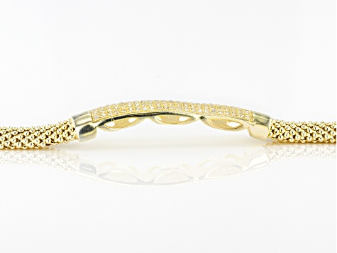 White Cubic Zirconia 18k Yellow Gold Over Sterling Silver Bracelet 1.01ctw