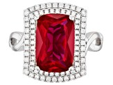 Red And White Cubic Zirconia Rhodium Over Sterling Silver Ring 5.08ctw