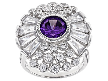 Picture of Purple And White Cubic Zirconia Rhodium Over Sterling Silver Ring 7.25ctw