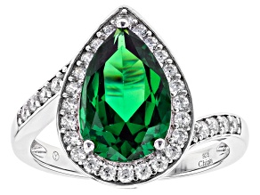 Green And White Cubic Zirconia Rhodium Over Sterling Silver Ring
