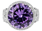 Purple And White Cubic Zirconia Rhodium Over Sterling Silver Ring 24.05ctw