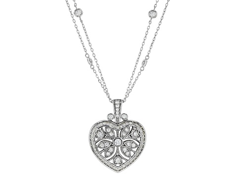 White Cubic Zirconia Rhodium Over Sterling Silver Heart Pendant With Chain 2.75ctw