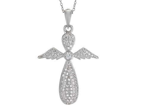 White Cubic Zirconia Rhodium Over Silver Cross Pendant With Chain 0.85ctw
