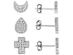 White Cubic Zirconia Rhodium Over Silver Stud Earrings Set of 3 2.00ctw