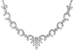 White Cubic Zirconia Platinum Over Sterling Silver Necklace 27.50ctw