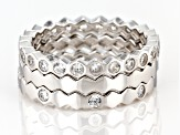White Cubic Zirconia Rhodium Over Sterling Silver Band Rings Set of 3 1.90ctw