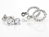 White Cubic Zirconia Rhodium Over Sterling Silver Earrings 2.90ctw