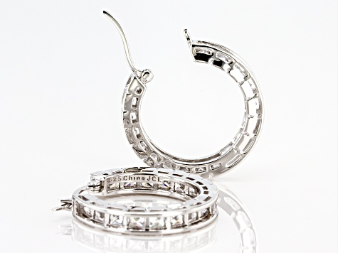White Cubic Zirconia Rhodium Over Sterling Silver Inside Out Hoop Earrings 10.80ctw