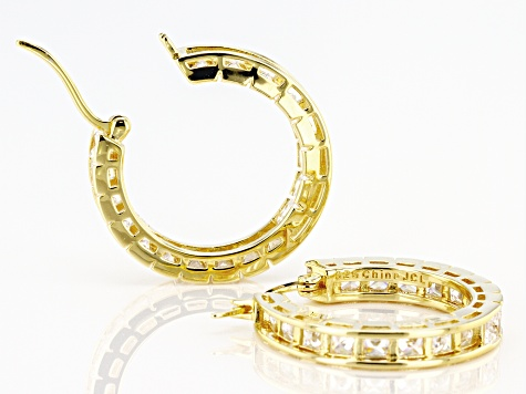 White Cubic Zirconia 18k Yellow Gold Over Sterling Silver Inside Out Hoop Earrings 10.80ctw