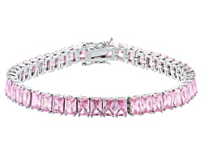 Pink Cubic Zirconia Rhodium Over Sterling Silver Tennis Bracelet 38.78ctw