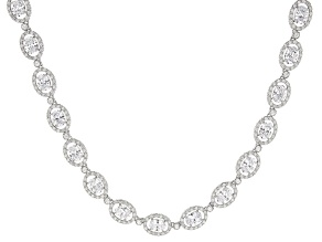 White Cubic Zirconia Rhodium Over Sterling Silver Tennis Necklace 62.15ctw