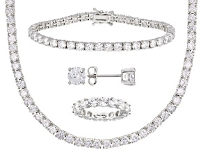 White Cubic Zirconia Rhodium Over Silver Earrings, Necklace, Ring, and Bracelet Set 67.36ctw
