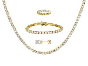 White Cubic Zirconia 18k Yellow Gold Over Silver Earrings, Necklace, Ring, And Bracelet Set 67.36ctw