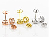 White Cubic Zirconia Rhodium And 18K Yellow And Rose Over Silver Stud Earrings Set of 3 8.58ctw