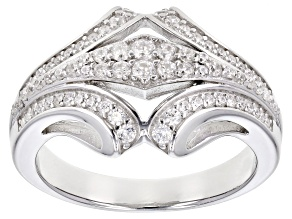 White Cubic Zirconia Rhodium Over Sterling Silver Ring 0.89ctw