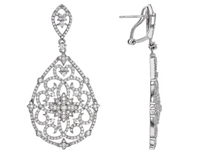 White Cubic Zirconia Rhodium Over Sterling Silver Earrings 5.65ctw
