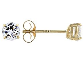 White Cubic Zirconia 14K Yellow Gold Stud Earrings 0.86ctw