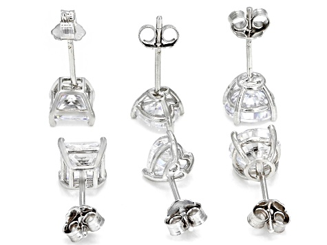 White Cubic Zirconia Rhodium Over Sterling Silver Stud Earrings Set of 3 6.78ctw