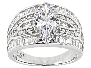 Picture of White Cubic Zirconia Rhodium Over Sterling Silver Ring 5.76ctw