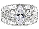 White Cubic Zirconia Rhodium Over Sterling Silver Ring 5.76ctw