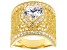 White Cubic Zirconia 18K Yellow Gold Over Sterling Silver Heart Ring 4.10ctw
