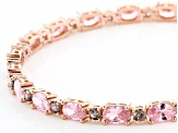 Pink And Brown Cubic Zirconia 18K Rose Gold Over Sterling Silver Tennis Bracelet 17.60ctw