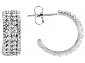 White Cubic Zirconia Rhodium Over Sterling Silver Hoop Earrings 1.35ctw
