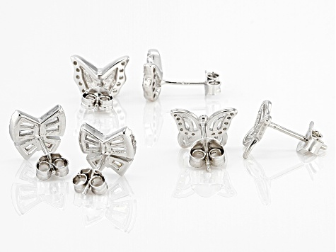 White Cubic Zirconia Rhodium Over Sterling Silver Butterfly Stud Earrings Set of 3 2.05ctw