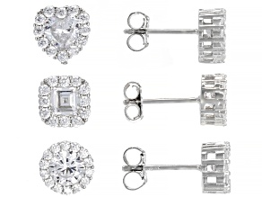 White Cubic Zirconia Rhodium Over Sterling Silver Round, Heart, And Square Stud Set of 3 5.00ctw