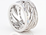 White Cubic Zirconia Rhodium Over Sterling Silver Band Ring 4.00ctw