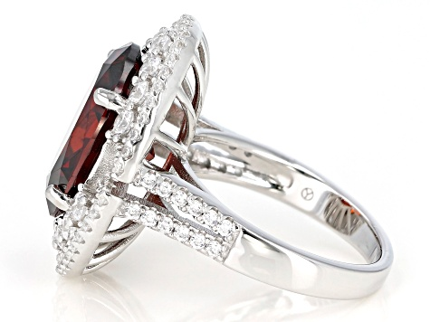 Red And White Cubic Zirconia Rhodium Over Sterling Silver Ring 10.74ctw