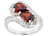 Red And White Cubic Zirconia Rhodium Over Sterling Silver Ring 3.80ctw
