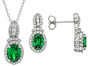 Green And White Cubic Zirconia Rhodium Over Sterling Silver Jewelry Set 3.89ctw