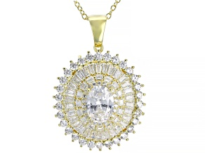 White Cubic Zirconia 18K Yellow Gold Over Sterling Silver Pendant With Chain 5.09ctw
