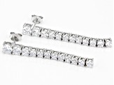 White Cubic Zirconia Rhodium Over Sterling Silver Drop Earrings 5.61ctw