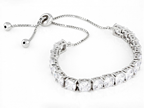 White Cubic Zirconia Rhodium Over Sterling Silver Adjustable Bracelet 14.08ctw