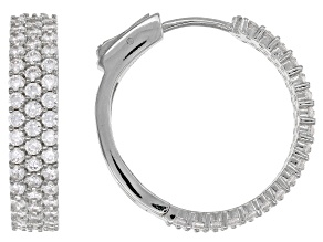 White Cubic Zirconia Rhodium Over Sterling Silver Hoop Earrings 4.32ctw