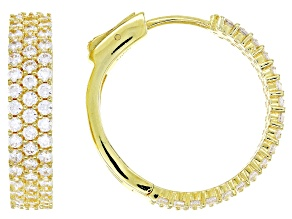 White Cubic Zirconia 18K Yellow Gold Over Sterling Silver Hoop Earrings 4.32ctw