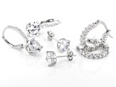 White Cubic Zirconia Rhodium Over Sterling Silver Earrings Set of 3 9.78ctw