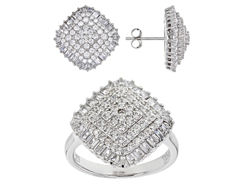 White Cubic Zirconia Rhodium Over Sterling Silver Ring And Earrings 7.27ctw