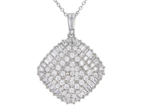 White Cubic Zirconia Rhodium Over Sterling Silver Pendant With Chain 4.47ctw