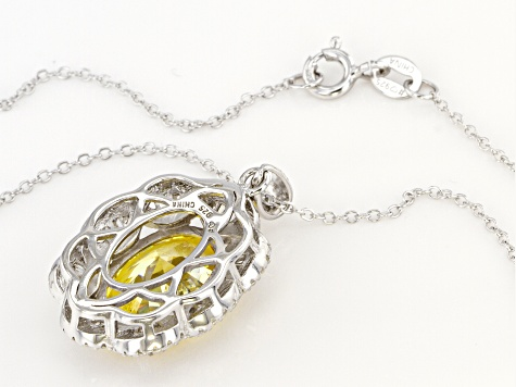 Yellow And White Cubic Zirconia Rhodium Over Sterling Silver Pendant With Chain 10.74ctw