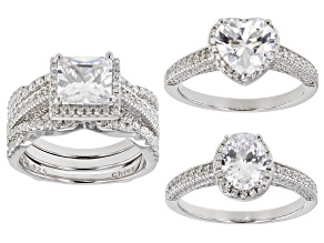 White Cubic Zirconia Rhodium Over Sterling Silver Engagement With Ring Guard Set 11.90ctw