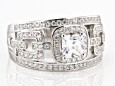 White Cubic Zirconia Rhodium Over Sterling Silver Ring 2.35ctw