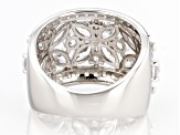 White Cubic Zirconia Rhodium Over Sterling Silver Floral Ring 6.00ctw.